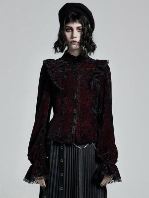 Dark Red Gothic Gorgeous Velvet Long Sleeve Shirt for Women
