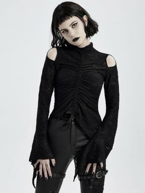 Black Gothic Daily Wear Long Sleeve Asymmetric T-Shirt for Women