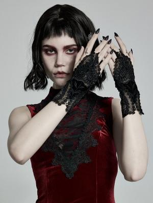 Black Gothic Velvet Lace Gloves for Women