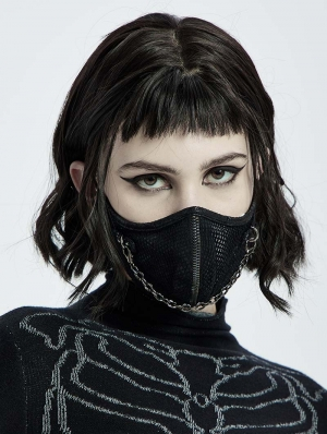 Black Gothic Punk Chain Face Mask for Women