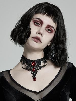 Black Lace Gothic Gem Necklace for Women