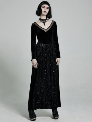 Dark Elegant Gothic Velvet Long Dress