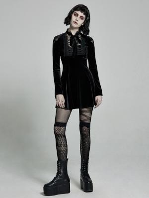 Black Cute Gothic Velvet Long Sleeve Daily Wear Short Dress