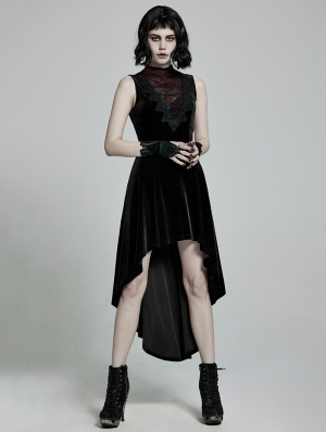 Black Retro Gothic Sexy Velvet High-Low Sleeveless Dress