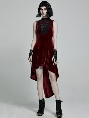 Red Retro Gothic Sexy Velvet High-Low Sleeveless Dress
