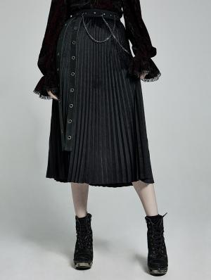 Black Gothic Punk Velvet Pleated Daily Wear Long Skirt