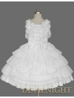 White Sleeveless Sweet Bow Gothic Lolita Dress