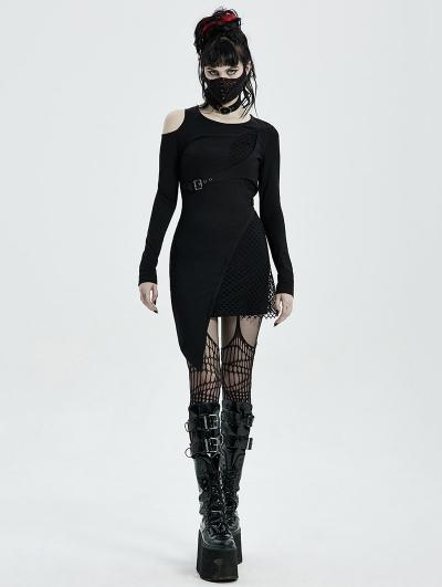 Black Gothic Punk Long Sleeve Asymmetric Short Dress