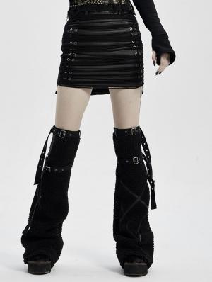 Black Gothic Punk Sexy PU Leather Short Skirt