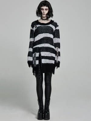 Black and White Stripe Gothic Pullover Daily Wear Sweater for Women
