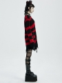 Black and Red Stripe Gothic Pullover Daily Wear Sweater for Women