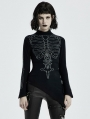 Black Gothic Bone Pattern Asymmetric Daily Wear Sweater for Women