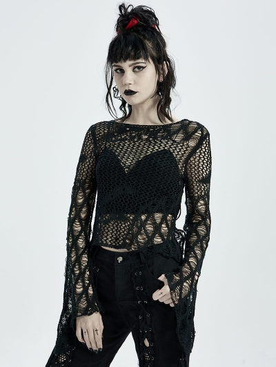 Black Gothic Hollow Daily Wear Short Sweater for Women