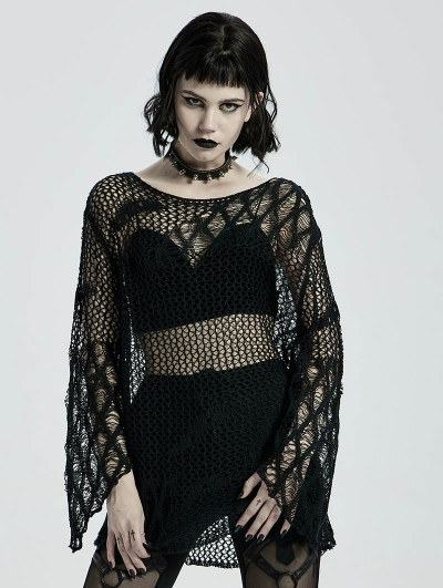 Black Gothic Hollow Daily Wear Sweater for Women