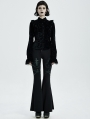 Black Gothic Punk Flared Trousers for Women