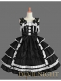 Black Sleeveless Sweet Bow White Lace Gothic Lolita Dress
