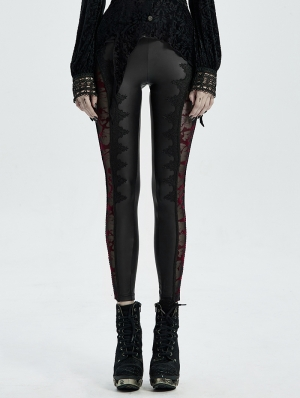 Black Sexy Gothic Lace Mesh Long Leggings for Women