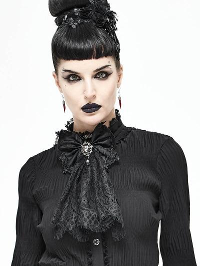 Black Vintage Gothic Lace Pendant Bowtie for Women
