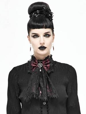 White Vintage Gothic Lace Pendant Bowtie for Women