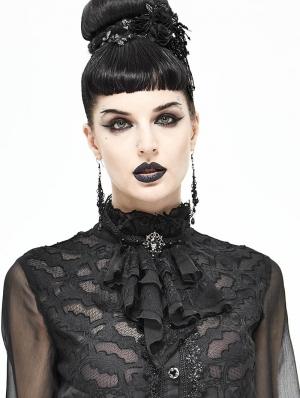 Black Vintage Gothic Lace Pendant Party Bowtie for Women