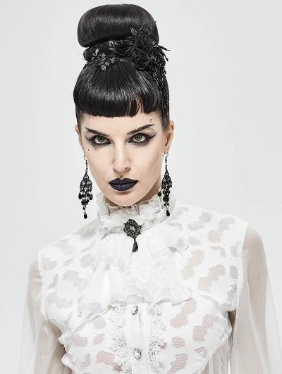White Vintage Gothic Lace Pendant Party Bowtie for Women