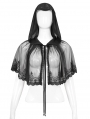 Black Gothic Lace Short Hooded Cape for Women