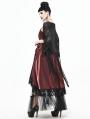 Black Gothic Lace Tassel Cape for Women