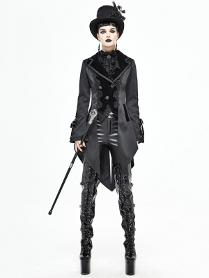 Black Vintage Gothic Party Swallow Tail Coat for Women