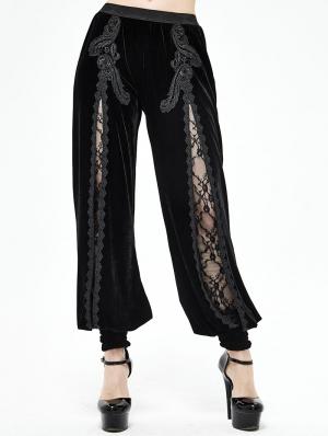 Black Vintage Gothic Velvet Daily Wear Long Pants for Women