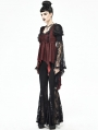 Red and Black Vintage Gothic Victorian Long Sleeve Irregular Shirt for Women