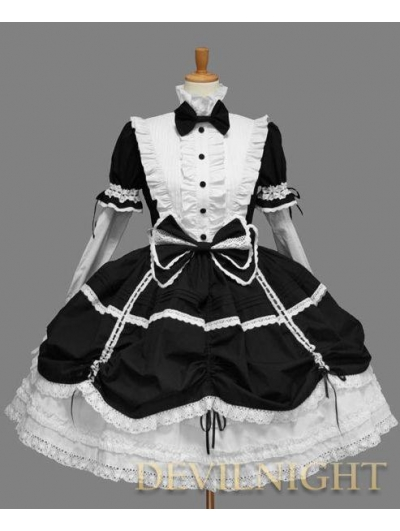Black and White Long Detachable Sleeves Bow Sweet Gothic Lolita Dress