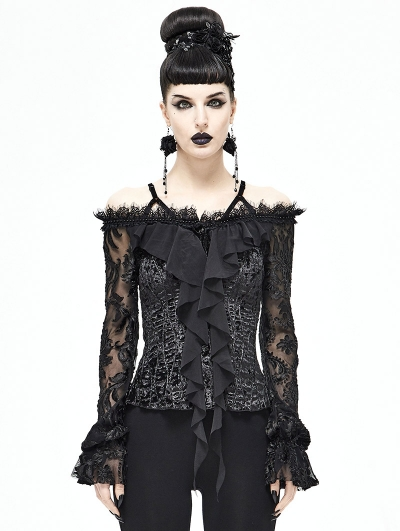 Black Gothic Off-the-Shoulder Long Sleeve Shirt for Women