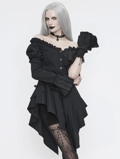Black Fashion Gothic Off-the-Shoulder Asymmetrical Long Shirt for Women