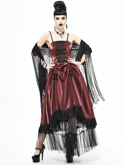 Red Vintage Gothic Long Prom Party Gown