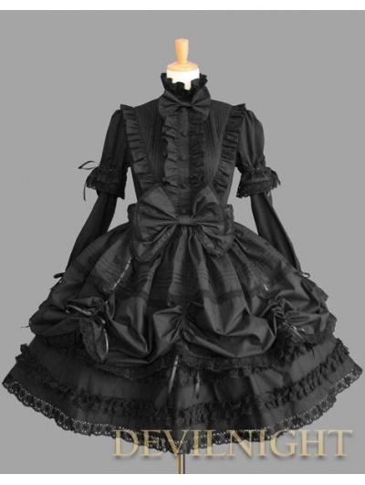 Black Long Detachable Sleeves Bow Sweet Gothic Lolita Dress