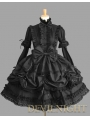 Black Long Detachable Sleeves Bow Sweet Gothic Lolita Dress