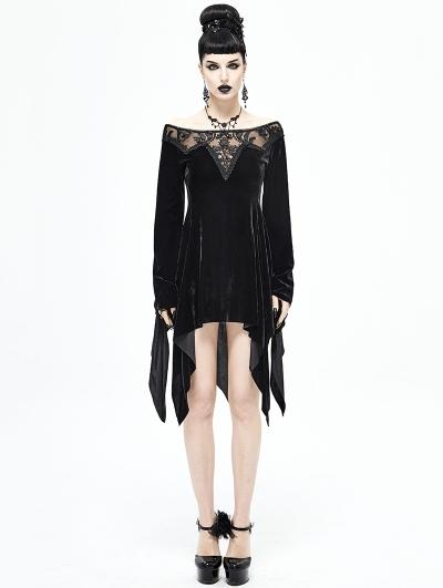 Black Elegant Gothic Velvet Off-the-Shoulder Short Irregular Dress