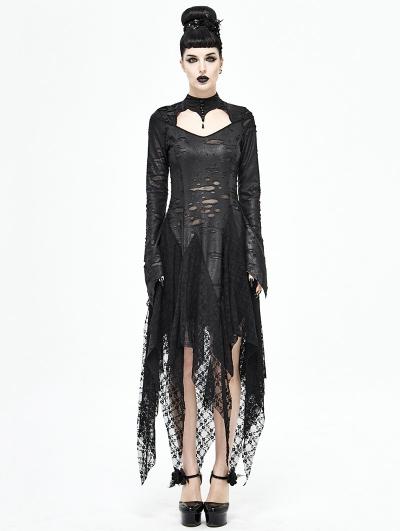 Black Gothic Dark Queen Morticia Addams Long Irregular Dress