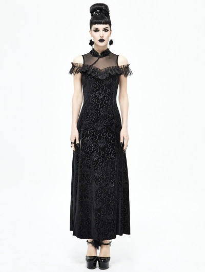 Black Vintage Sexy Gothic Cheongsam Style Long Dress