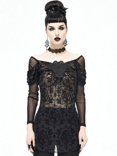 Black Sexy Gothic Transparent Long Sleeve T-Shirt for Women