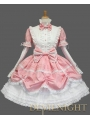 Pink and White Long Detachable Sleeves Bow Sweet Lolita Dress