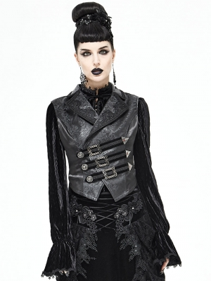 Black Vintage Gothic Swallow Tail Waistcoat for Women