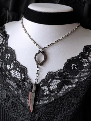 Black Gothic Punk Velvet Dagger Necklace