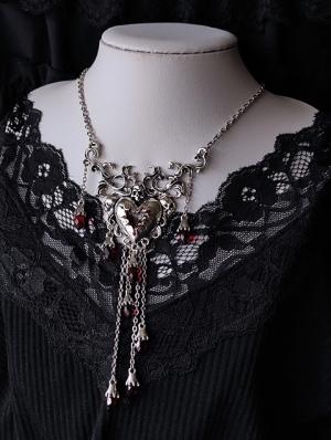 Gothic Devil Heart Skull Pendant Necklace