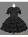 Black Short Sleeves Sweet Bow Gothic Lolita Dress