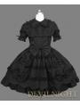 Black Short Sleeves Sweet Bow Gothic Lolita Dress