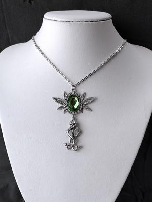 Gothic Punk Skull Snake Pendant Necklace