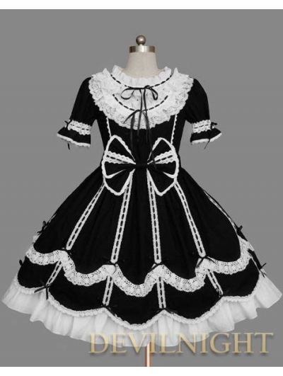 Black and White Short Sleeves Ribbon Bow Sweet Gothic Lolita Dress