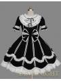 Black and White Short Sleeves Ribbon Bow Sweet Gothic Lolita Dress