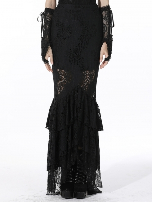 Black Elegant Gothic Lace Maxi Fishtail Skirt